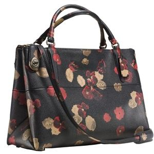 Coach Borough Turnlock In Floral Print Leather Bag